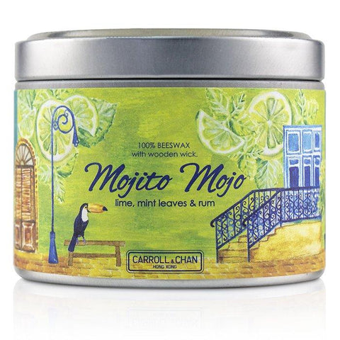 Tin Can 100% Beeswax Candle with Wooden Wick - Mojito Mojo - (8x5) cm