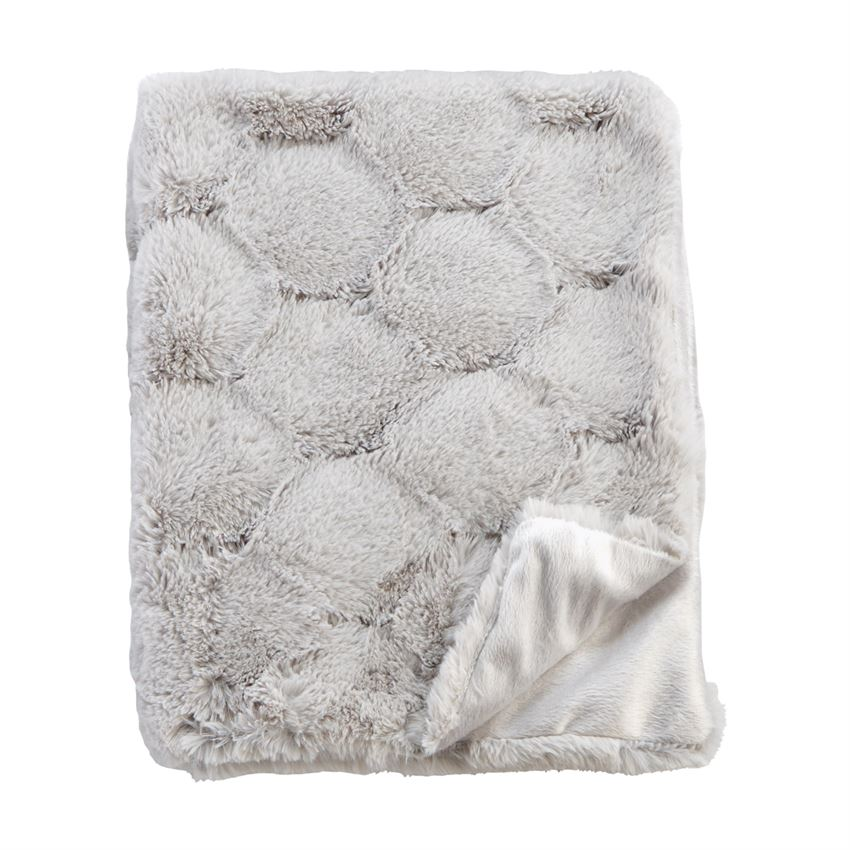 Honeycomb Fur Blanket - Gray