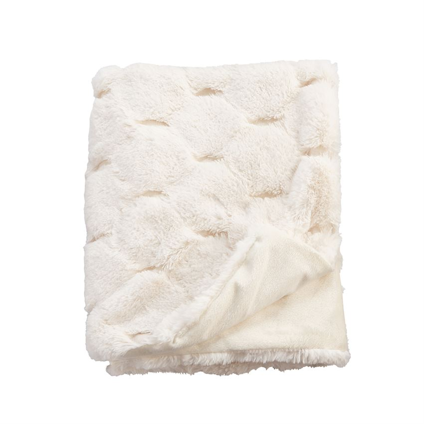 Honeycomb Fur Blanket - Ivory - Gatherings Market