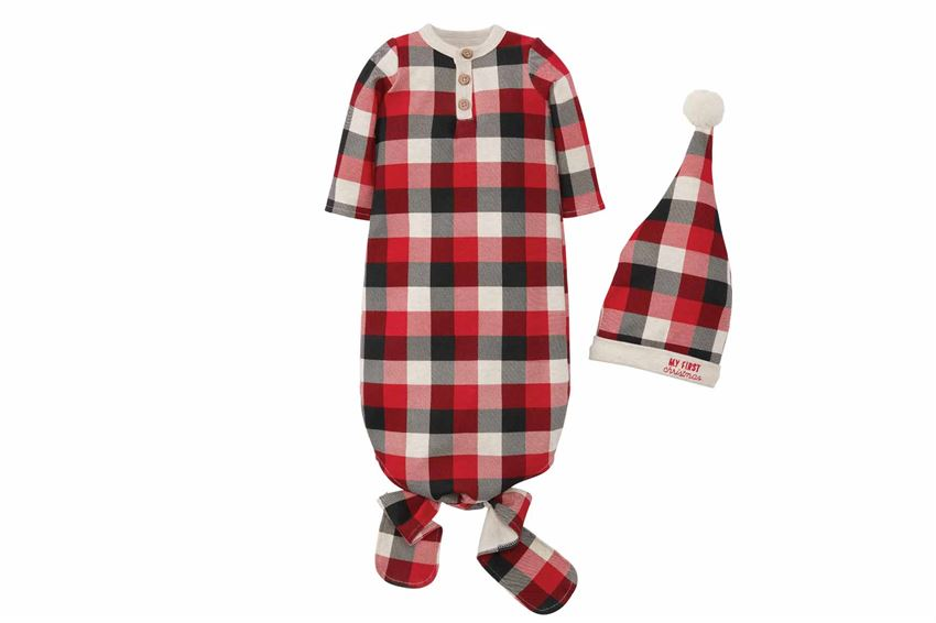 Buffalo Check Gown & Cap Set - Boy