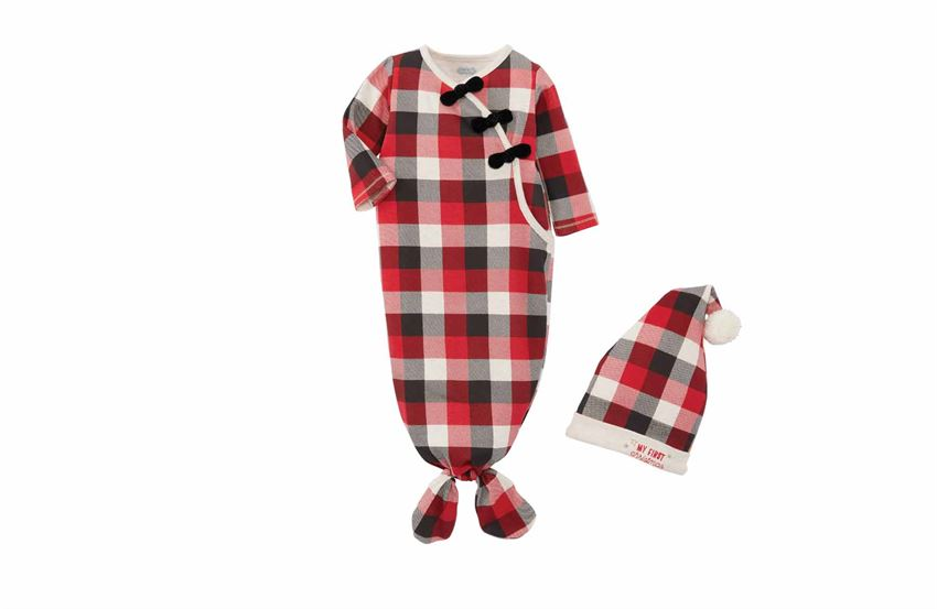 Buffalo Check Gown & Cap Set - Girl