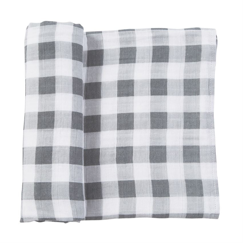 Gray Gingham Muslin Swaddle