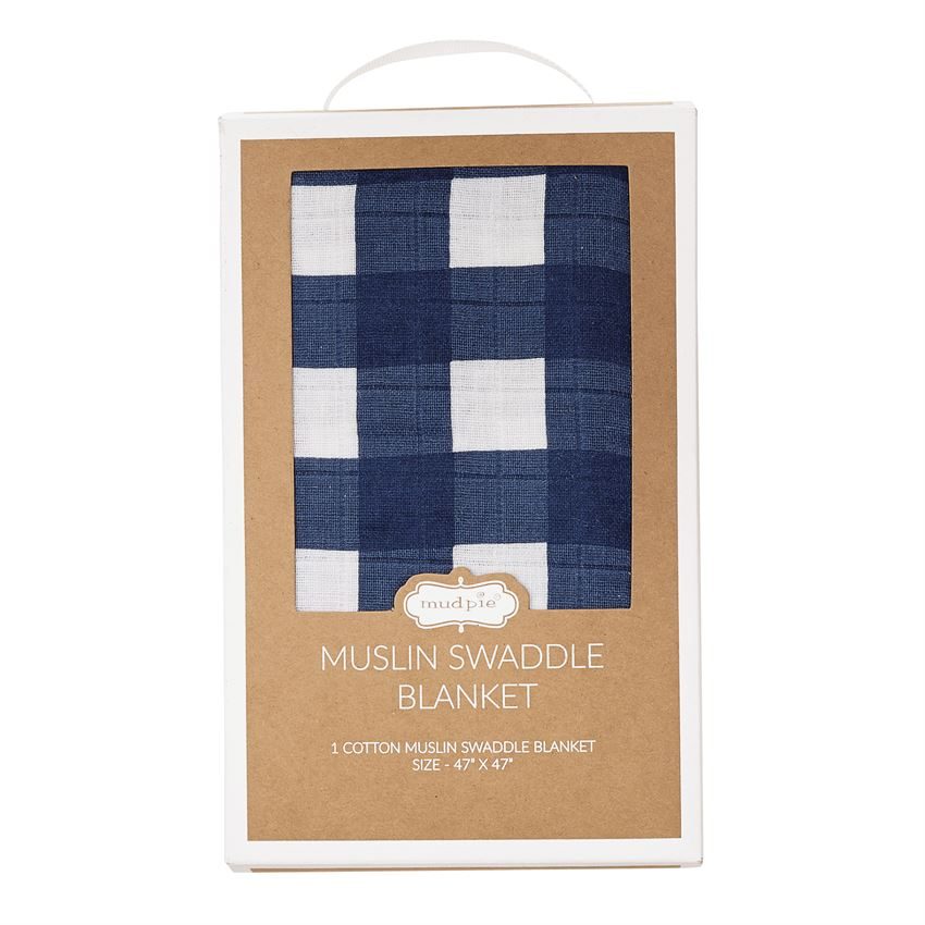 Navy Gingham Muslin Swaddle