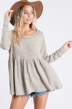 Brushed Knit Babydoll Top - Taupe