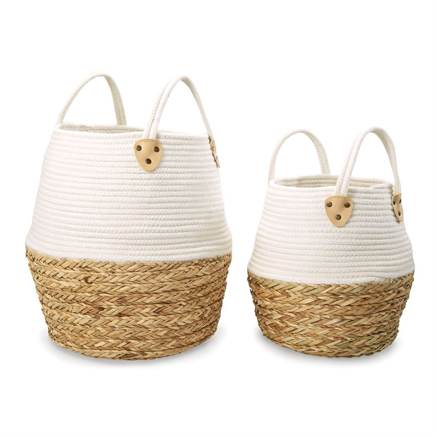 Two-Tone Cotton & Straw Basket