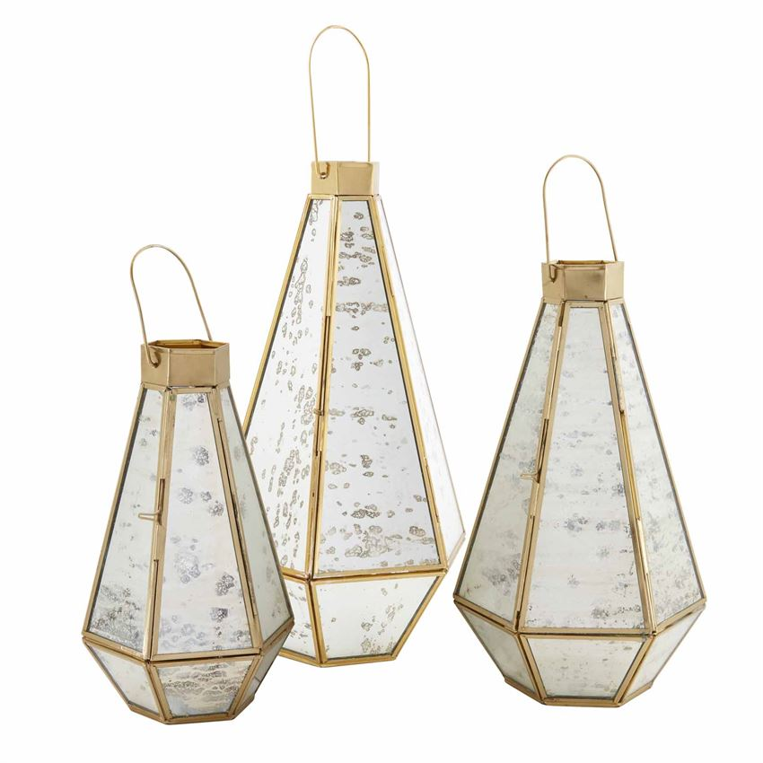 Mercury Glass Brass Lanterns