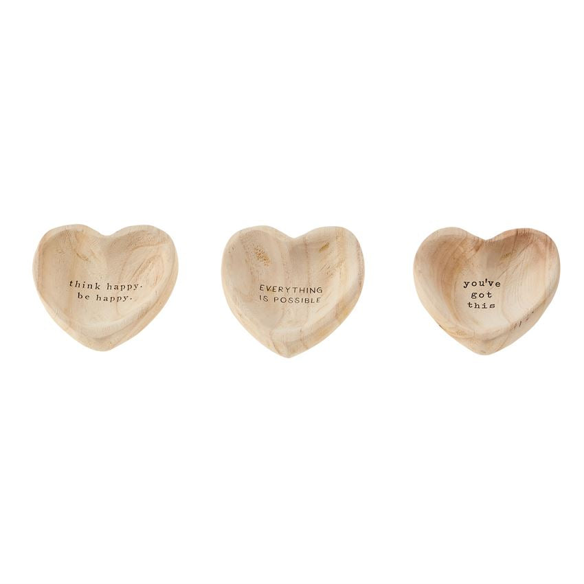 Wood Heart Trinket Trays