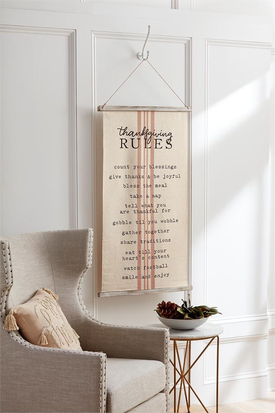 Holiday Rules Fabric Hanger