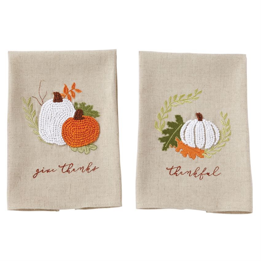 Pumpkin French Knot Towels