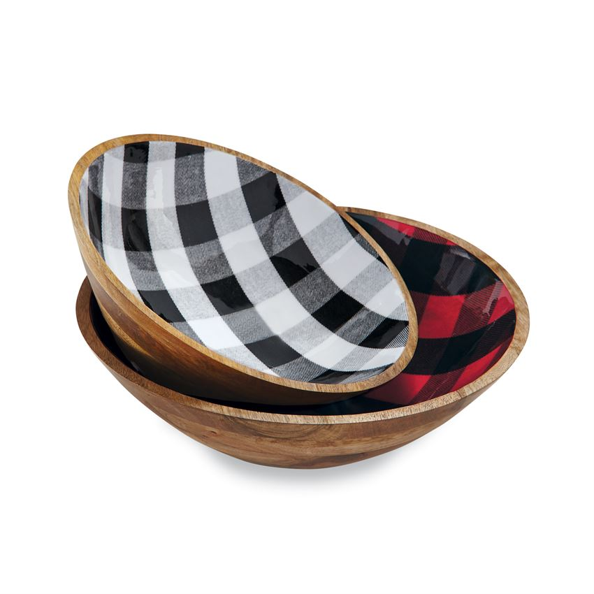 Buffalo Check Wood Bowl