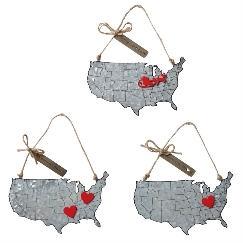 Christmas Map Tin Ornament - Gatherings Market