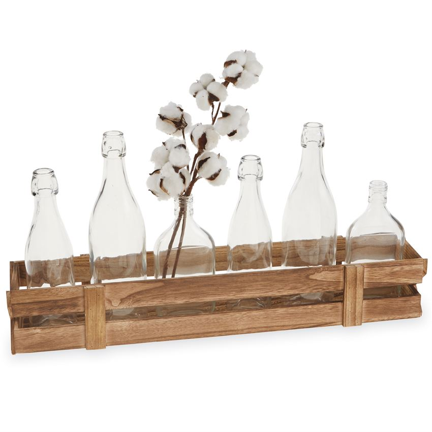 Planked Wood Crate & Vase Set