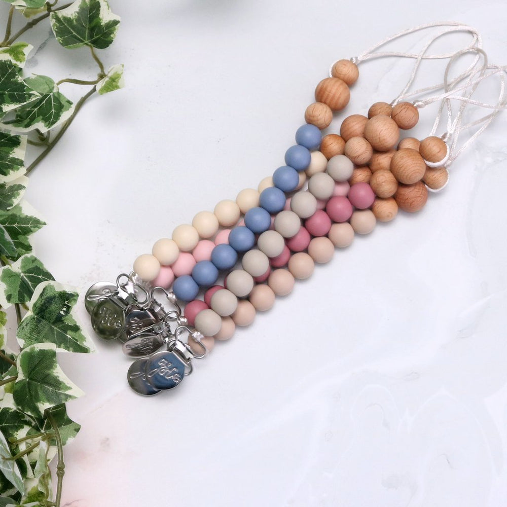 Silicone & Wood Pacifier Clip
