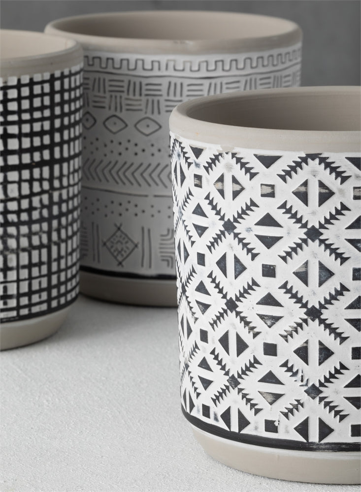 Patterned Cement Pot