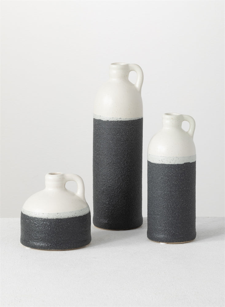 Bottle Vase - Cream & Black