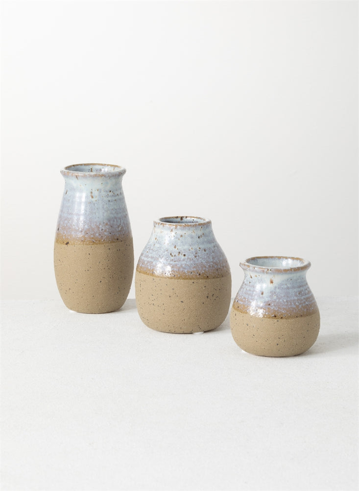 Bottle Vase - Blue & Taupe