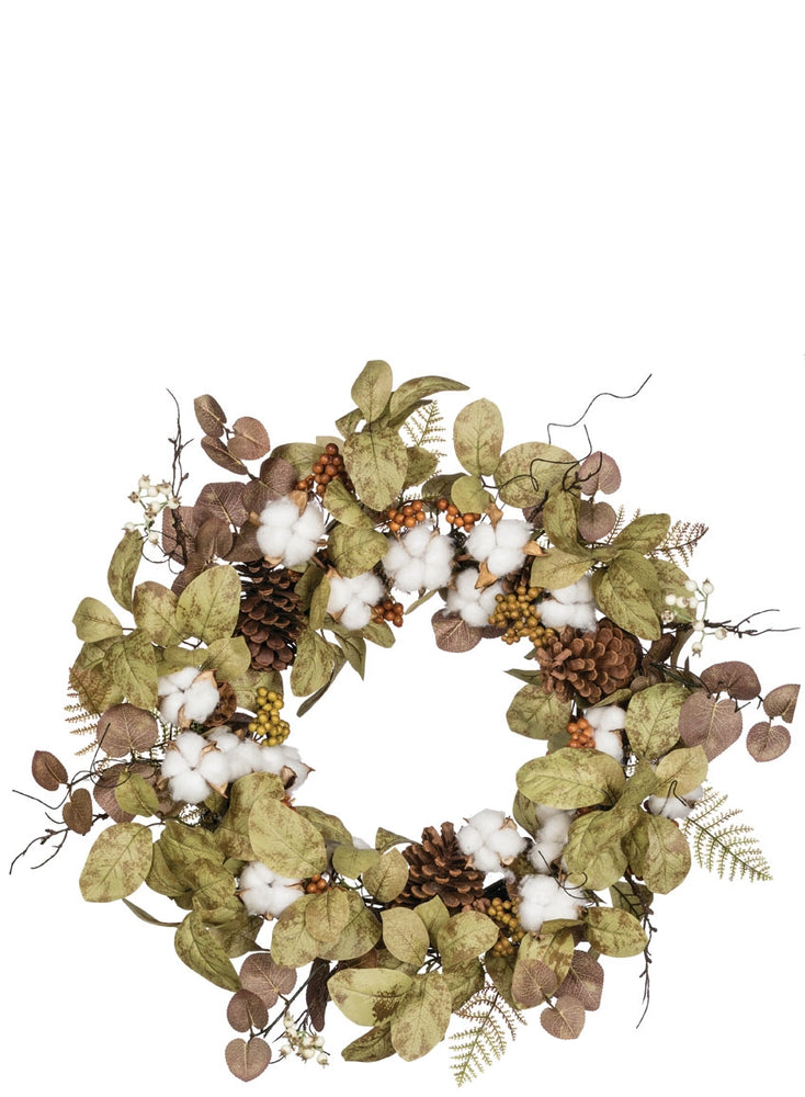 Cotton & Leaf Wreath