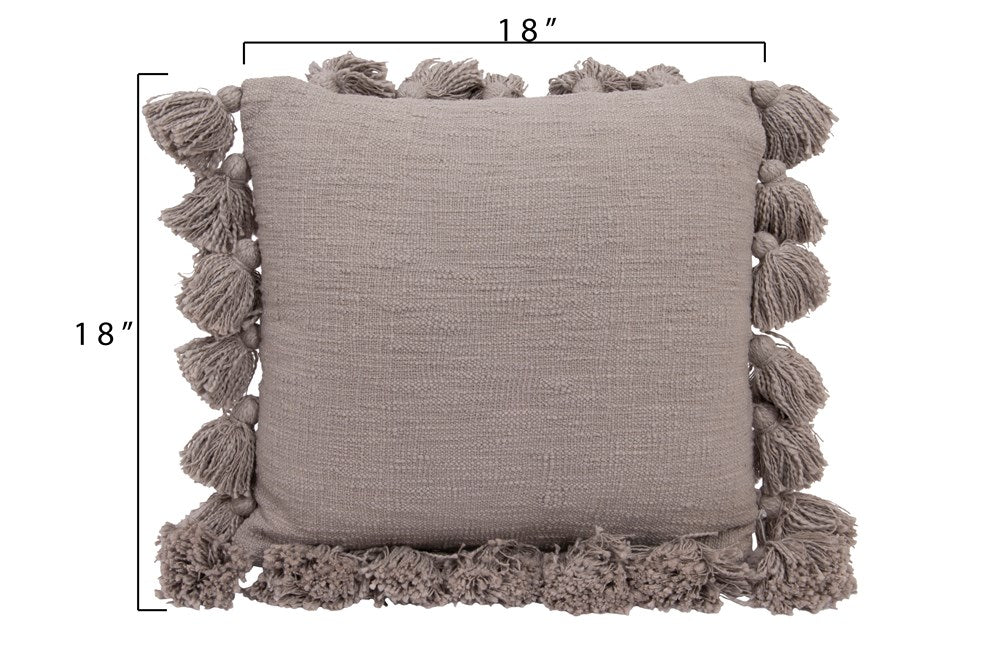 Cotton Pillow with Tassels - Gray