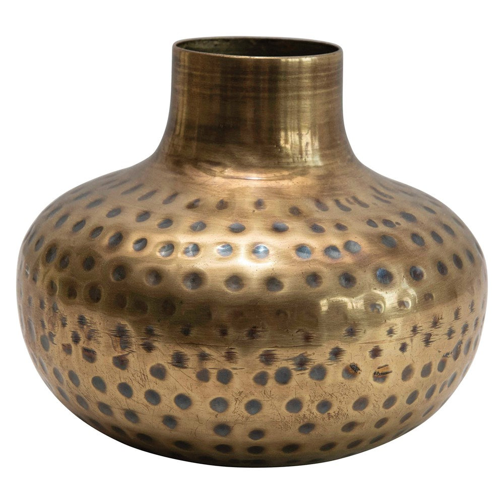 Hammered Antique Brass Vase