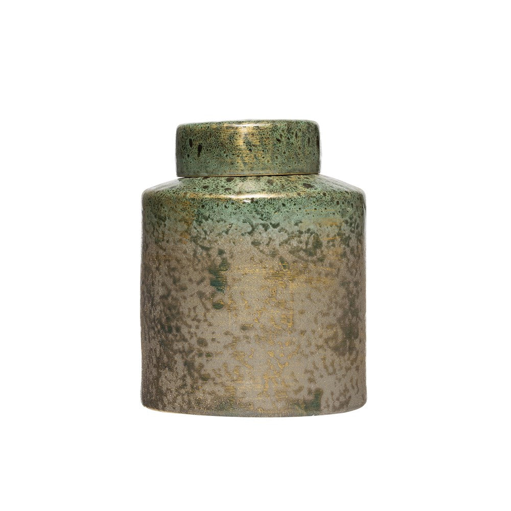 Iridescent Green Ginger Jar