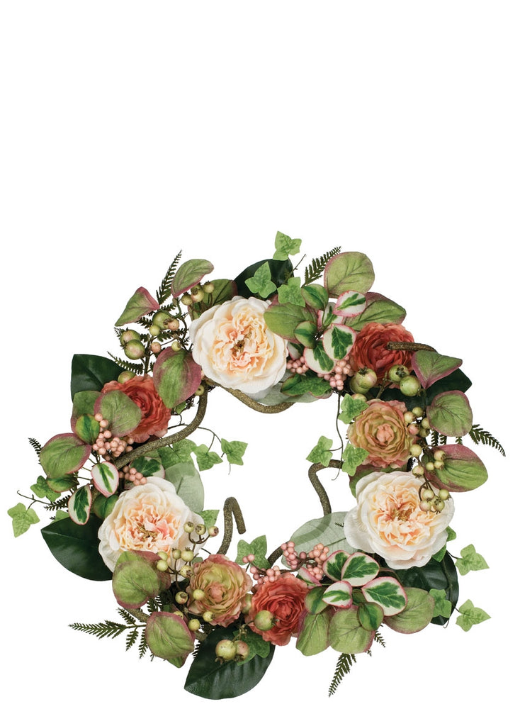 Peony Ranunculus Berry Wreath - Gatherings Market