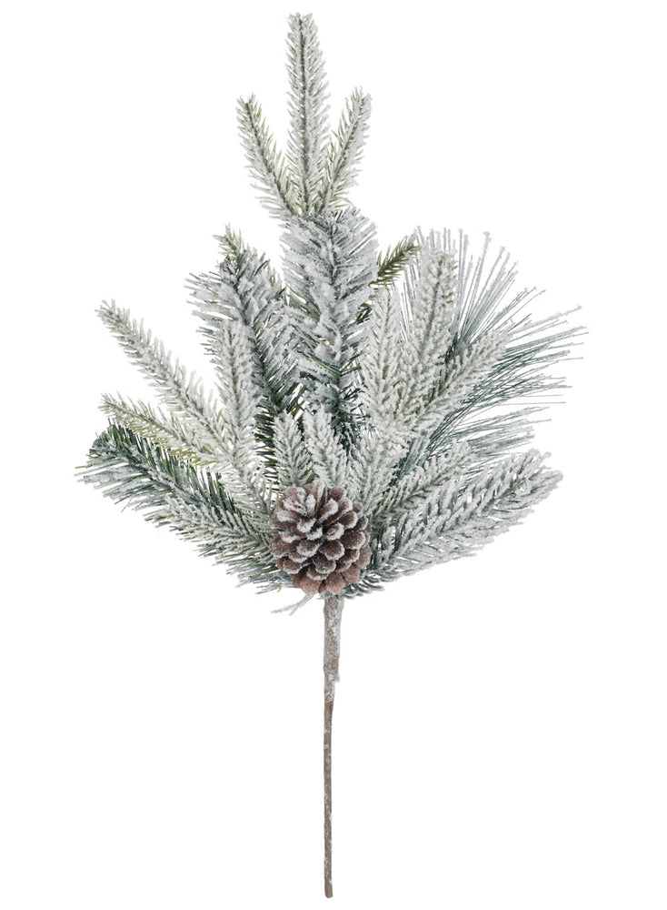 Flocked Pine with Cones Pick