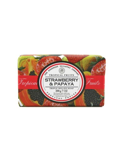 Tropical Fruits Triple Milled Soap - Strawberry & Papaya - Gatherings Market