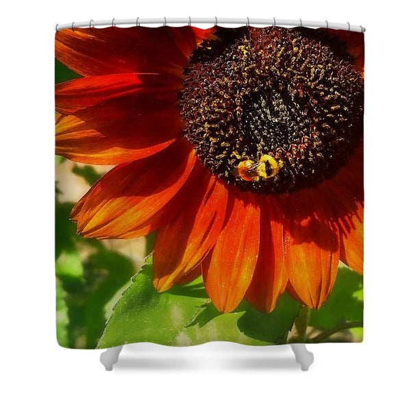 Autumn Sunflower and Bumble Bee Shower Curtain