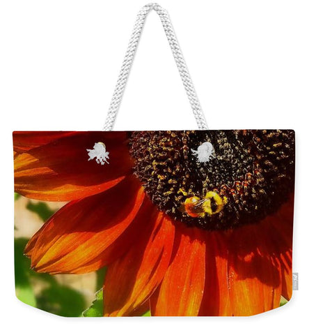 Autumn Sunflower and Bumble Bee Weekender Tote bag