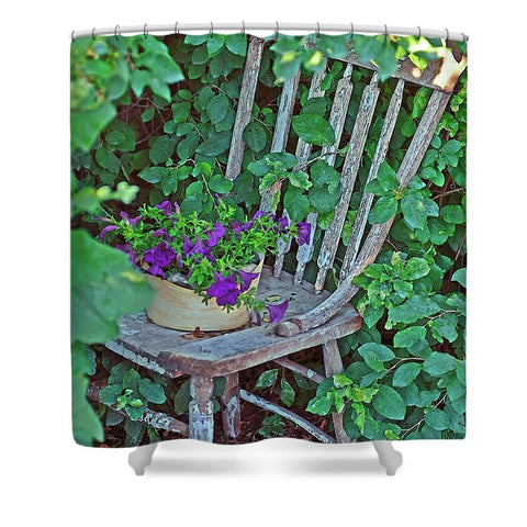 Old Chair New Petunias Shower Curtain