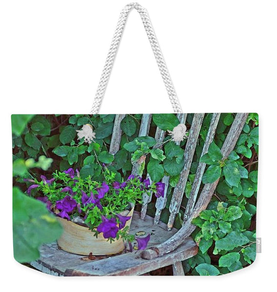 Old Chair New Petunias Weekender Tote bag