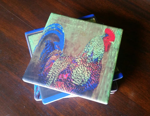 Set of 4 Sandstone Coasters. Bert the Rooster. Solid Cork Backing.