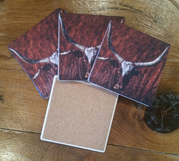 Set of 4 Sandstone Coasters Watoosie Red Bull, includes large, gorgeous tin holder. Solid Cork Backing.