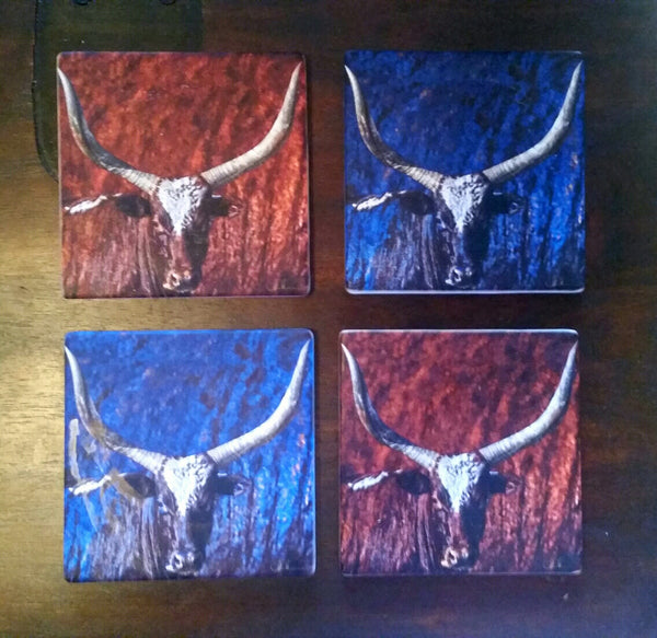 Steer Coasters Set Of 4 Sandstone, Signed. Solid Cork Backing.