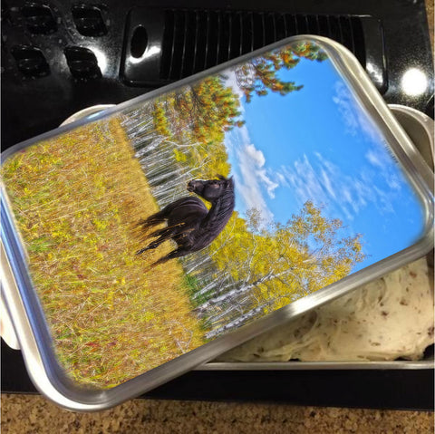 Aspen Gold in Black and White Cake Pan with Lid