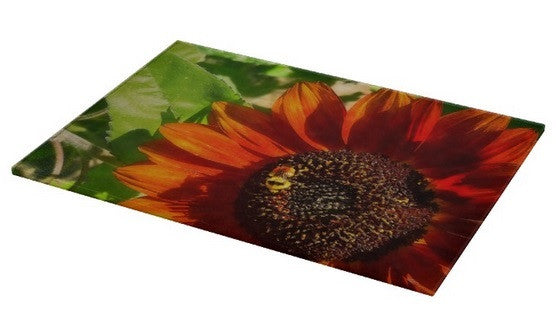 Autumn Sunflower and Bumble Bee Cutting Board
