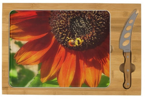Autumn Sunflower and Bumble Bee Cheese Board