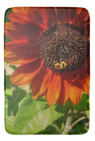 Autumn Sunflower and Bumble Bee Bath Mat