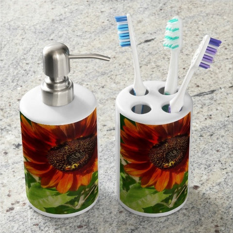 Autumn Sunflower and Bumble Bee Bathroom Set