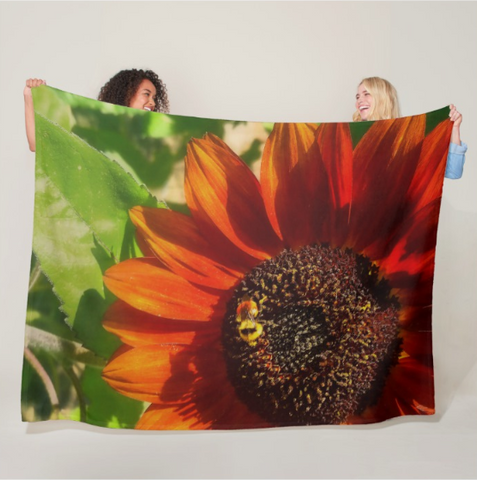 Autumn Sunflower and Bumble Bee Fleece Blanket