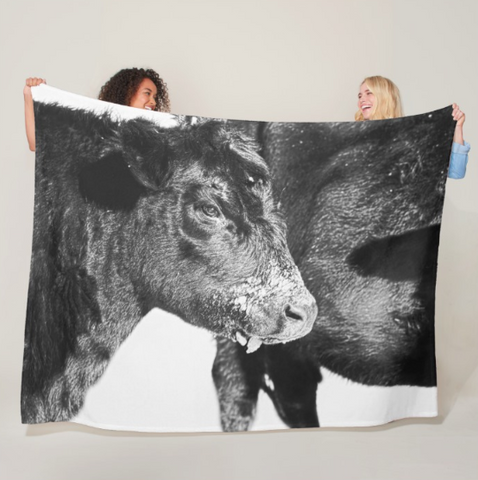 Black and White on Angus Fleece Blanket