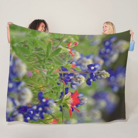 Blue Bonnets and a Paintbrush Fleece Blanket