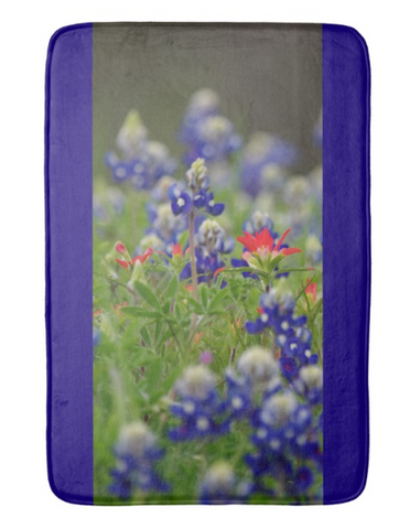 Blue Bonnets and a Paintbrush Bath Mat