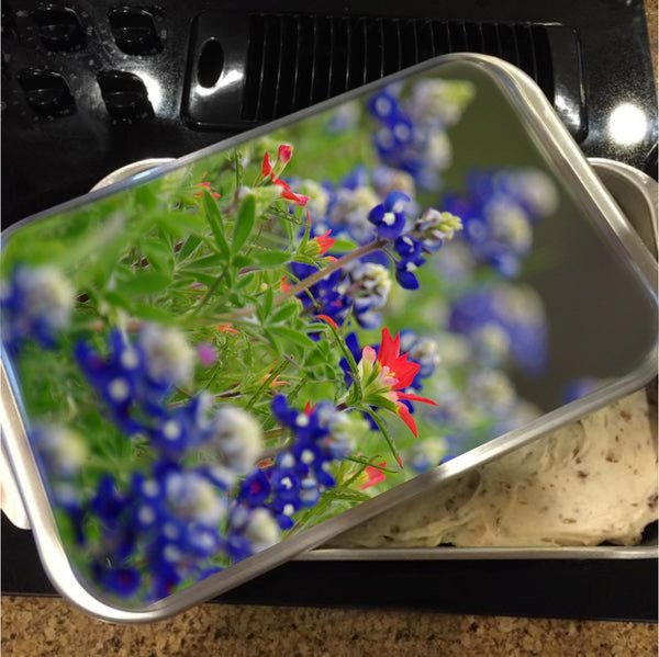 Blue Bonnets and a Paintbrush Cake Pan with Lid