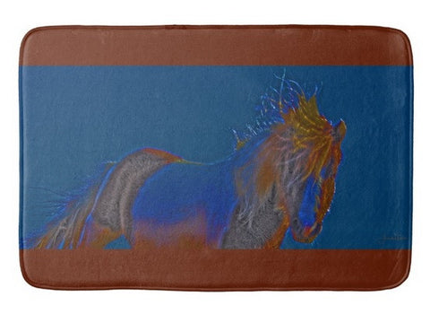 Blue Stallion Bath Mat