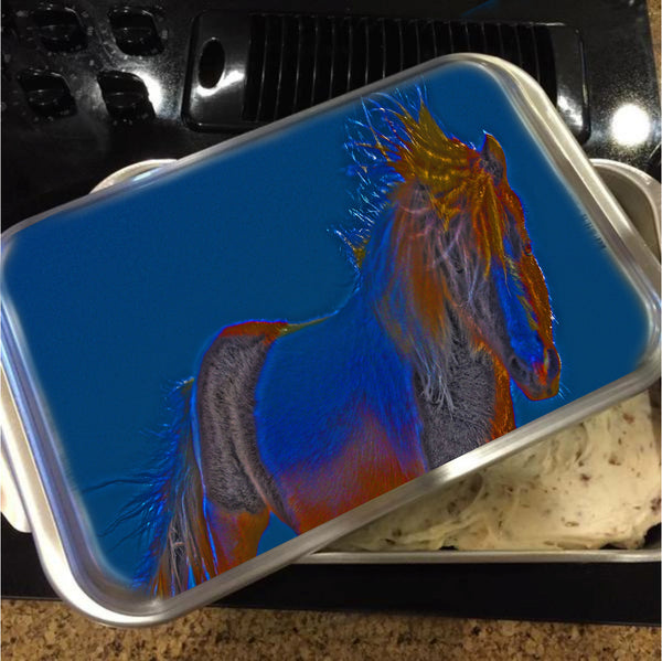 Blue Stallion Cake Pan with Lid