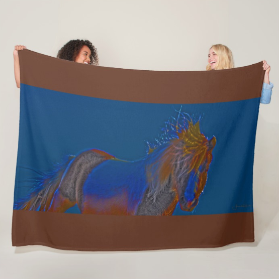 Blue Stallion Fleece Blanket