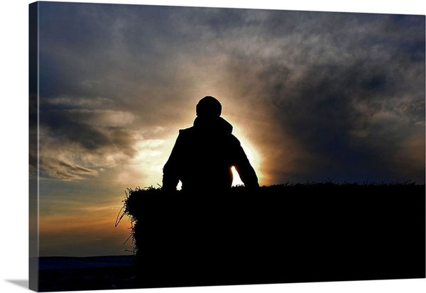 Bucking Hay At Sunrise Canvas Print