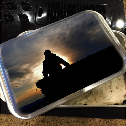 Bucking Hay at Sunrise Cake Pan with Lid