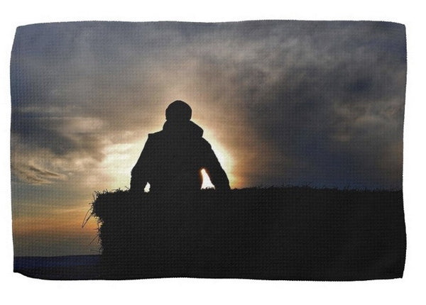 Bucking Hay at Sunrise Kitchen Towel